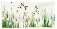 Ducks In Flight - Migration  Beach Towel by Andrea Kollo