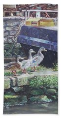 Beach Towel featuring the painting Ducks On Dockside by Martin Davey