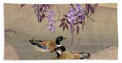 Ducks Under Wisteria Tree Beach Sheet
