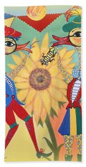 Beach Towel featuring the painting Duke Have A Honey-bee by Marie Schwarzer