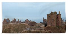 Dunnottar Castle Moonrise Panorama Beach Sheet by Grant Glendinning