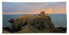 Dunnottar Castle Sunset Rainbow Beach Sheet by Grant Glendinning