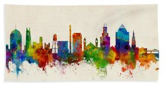 Durham North Carolina Skyline Beach Towel