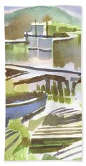 Beach Towel featuring the painting Dusk At The Boat Dock by Kip DeVore