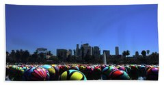 Beach Towel featuring the photograph Dusk Finds The Spheres Of Macarthur Park by Lorraine Devon Wilke
