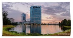 Dusk Panorama Of The Woodlands Waterway And Anadarko Petroleum Towers - The Woodlands Texas Beach Towel