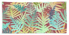 Beach Towel featuring the digital art Dusty Cedar Ferns Aqua by Karen Dyson