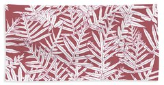 Beach Towel featuring the digital art Dusty Cedar Ferns Sketch by Karen Dyson