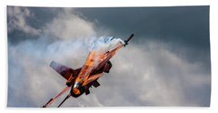 Dutch F16 Take Off At Waddington Beach Towel by Ken Brannen