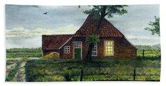Dutch Farm At Dusk Beach Sheet