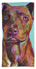 Beach Towel featuring the painting Dutch, The Brindle Mix by Robert Phelps