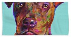 Dutch, The Pit Bull Pup Beach Sheet by Robert Phelps