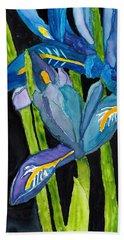 Dwarf Iris Watercolor On Yupo Beach Towel