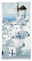 Dwellings, Santorini - Prints From Original Oil Painting Beach Towel