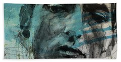 Dylan - Retro  Maggies Farm No More Beach Towel by Paul Lovering