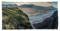 Dyrholaey Light House Beach Sheet by Allen Biedrzycki