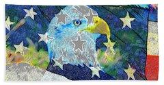 Beach Towel featuring the digital art Eagle Americana by David Lee Thompson