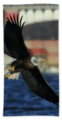 Beach Towel featuring the photograph Eagle Flying by Coby Cooper