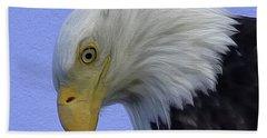 Eagle Head Paint Beach Towel by Sheldon Bilsker