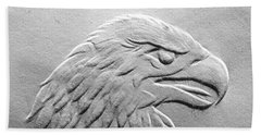 Beach Towel featuring the relief Eagle Head Relief Drawing by Suhas Tavkar