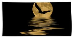 Eagle In The Moonlight Beach Towel