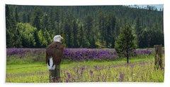 Eagle On Fence Post Beach Towel