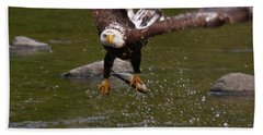 Beach Towel featuring the photograph Eagle Over Seal Rock by Debbie Stahre