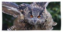 Eagle Owl Close Up Beach Towel