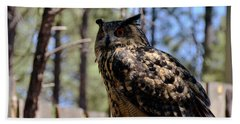 Beach Towel featuring the photograph Eagle Owl by Debby Pueschel