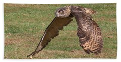 Beach Towel featuring the photograph Eagle Owl On The Hunt 1 by William Selander