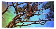 Beach Sheet featuring the painting Eagle Series 2 by Deborah Benoit