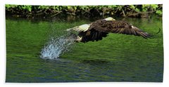 Beach Towel featuring the photograph Eagle Series Fish Catch by Deborah Benoit