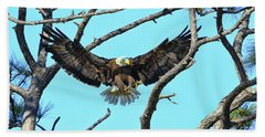 Beach Towel featuring the photograph Eagle Series Wings by Deborah Benoit