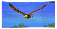 Beach Towel featuring the photograph Eagle Series Through The Trees by Deborah Benoit