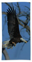 Beach Towel featuring the photograph Eagle With Fish by Coby Cooper