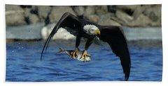 Beach Towel featuring the photograph Eagle With Fish Flying by Coby Cooper