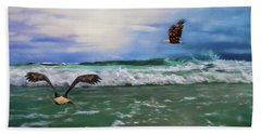 Eagles At Sea Wildlife Art Beach Sheet by Jai Johnson
