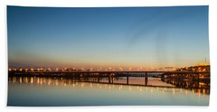 Early Evening Bridge At Sunset Beach Towel