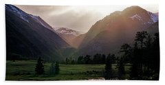 Early Evening Light In The Valley Beach Towel