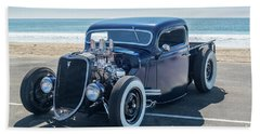 Early Ford Pickup At The Beach Beach Towel