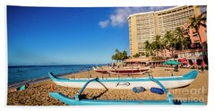 Early Morning At Outrigger Beach,hawaii Beach Towel