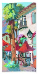Beach Towel featuring the painting Early Morning Coffee In Old Town La Quinta 2 by Diane McClary