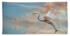 Early Morning Egret Beach Towel by Brian Tarr