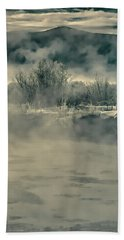 Beach Towel featuring the photograph Early Morning Frost On The River by Don Schwartz