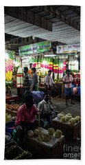 Beach Towel featuring the photograph Early Morning Koyambedu Flower Market India by Mike Reid
