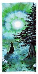 Early Morning Meditation In Blues And Greens Beach Sheet by Laura Iverson