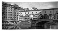 Beach Towel featuring the photograph Early Morning Ponte Vecchio Florence Italy by Joan Carroll