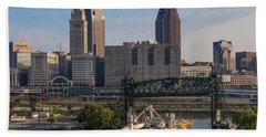 Early Morning Transport On The Cuyahoga River Beach Towel