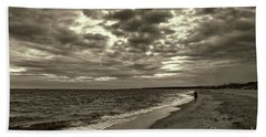 Early Morning Walk On Virginia Beach Beach Towel