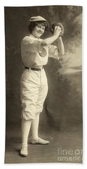 Early Portrait Of A Woman Baseball Player Beach Towel